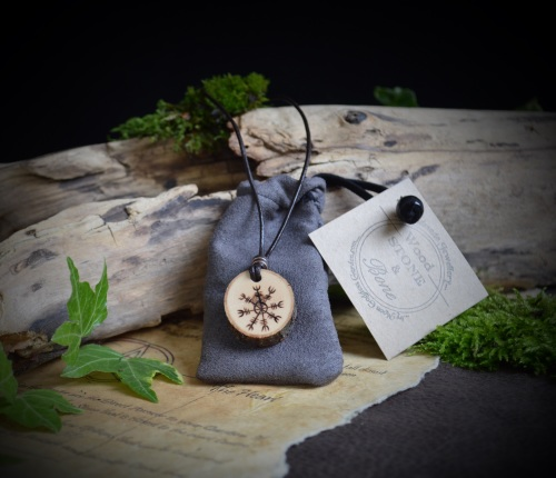 Unisex Cherry Wood Viking pendant