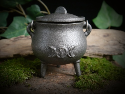 Mini Cast Iron Cauldron *Triple Moon & Goddess design*