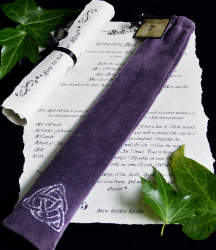 Dark Purple Wand Bag With Triquetra design