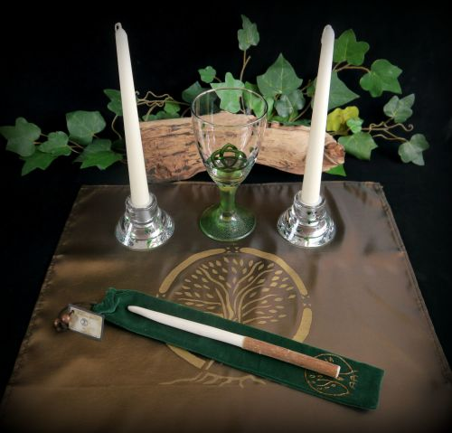 Witches Moon Gazing Hare Altar set with Chalice Candle Holders Altar Cloth