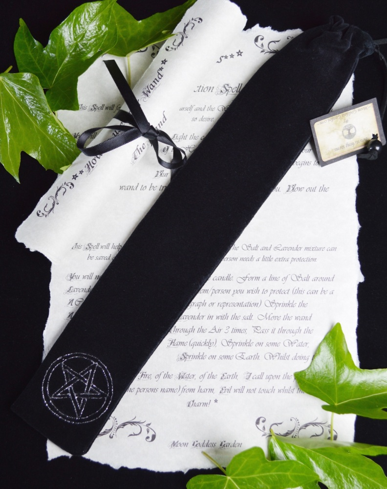 Black Velvet Wand Bag  with Pentacle design