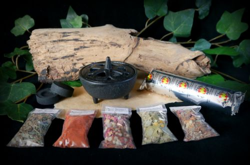 Cast Iron Incense Burner and Hand Blended Grain Incense kit Samhain Hallowe