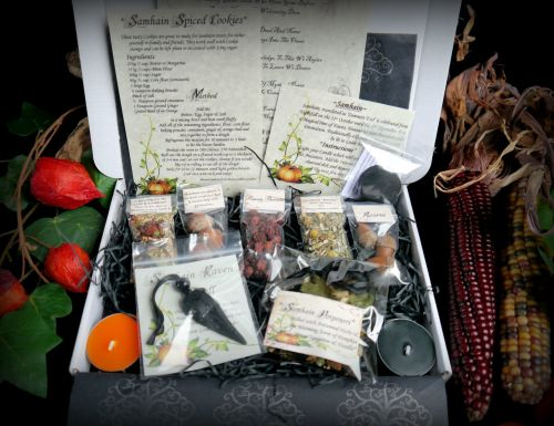 Witches Samhain kit with Blessing Spell and Raven Talisman Wiccan Pagan Wit