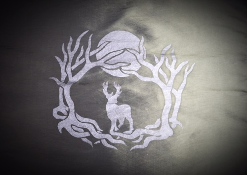 Green Altar Cloth with Stag in forest design
