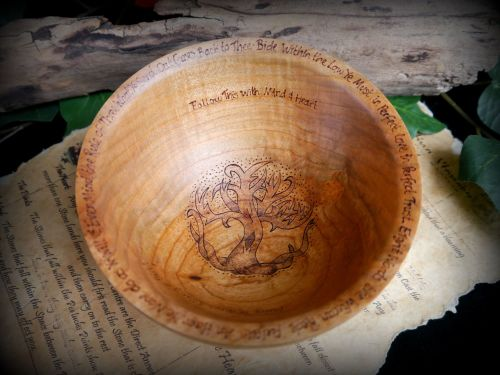 Witches Wooden Tree of Life Offering Bowl with Wiccan Rede design Altar Wic