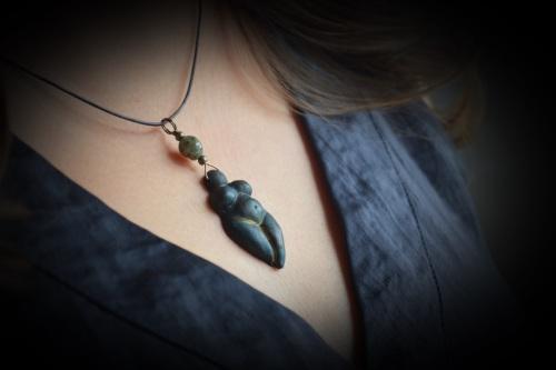 Earth Goddess clay Necklace labradorite