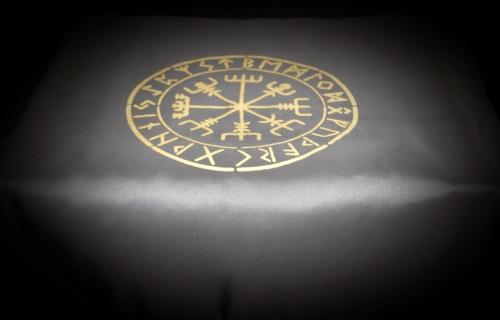 Black  Altar Cloth with Vegvisir design faux silk taffeta Gold