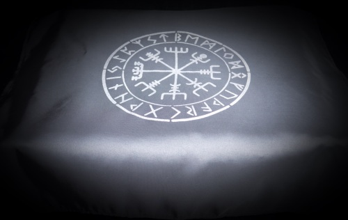Black  Altar Cloth with Vegvisir design faux silk taffeta Silver