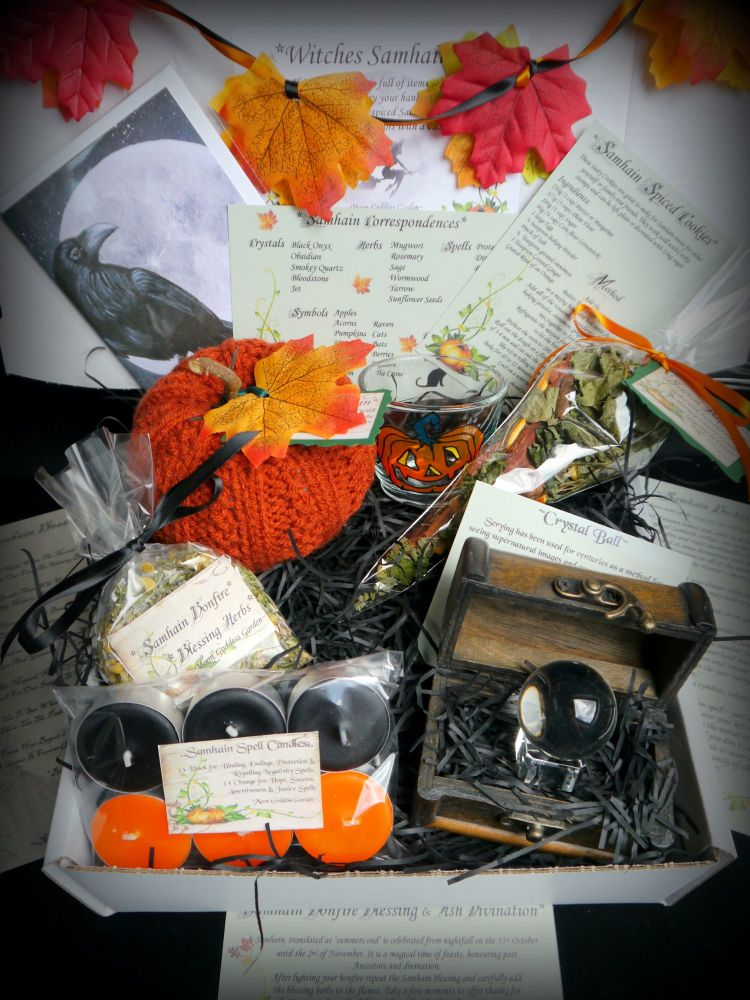 Samhain Blessing Chest with Scrying Orb, Rowan Berries, Herbs and Offering