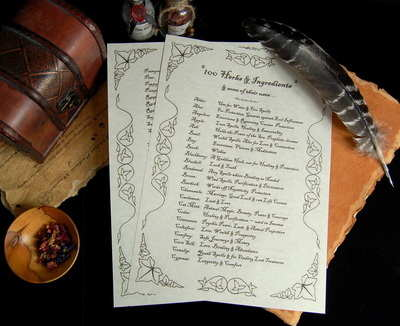 100 Herbs & Ingredients and their Magical uses Leaflet