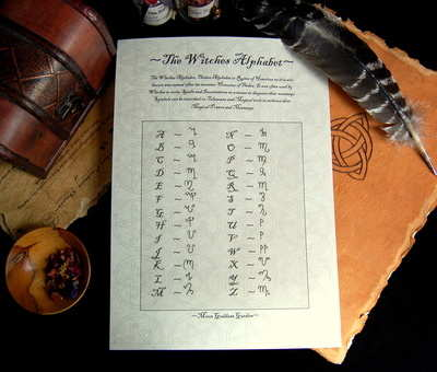 The Witches Alphabet ~Theban Script Leaflet~