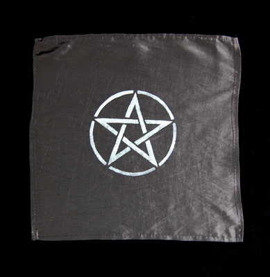 Small Black Altar Cloth with Pentacle design