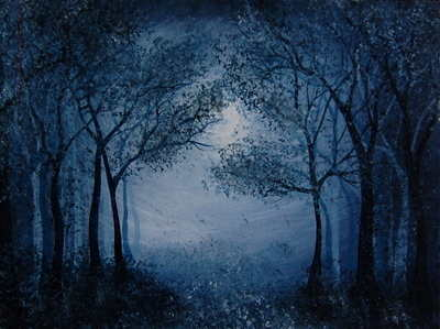 'Moonlit Forest' Original Acrylic Painting