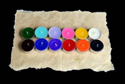 12 x Mixed coloured Tea Candles for Spells