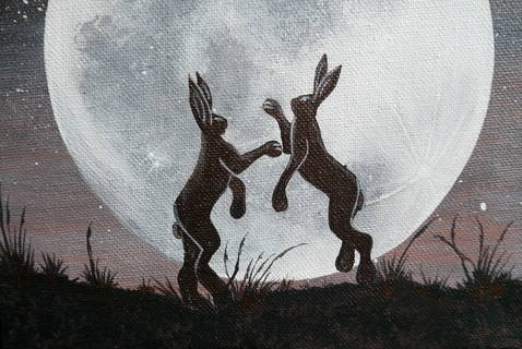 Boxing Hares Painting