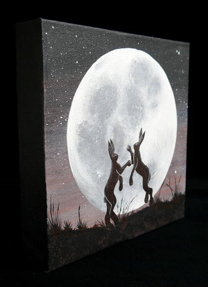 Boxing Hares painting 2