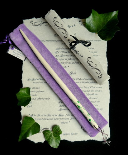 Willow Wand with Vine Leaf and Dragonfly