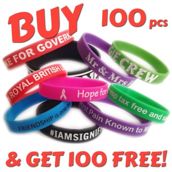 12mm Wristbands x 100pcs + 100 Free!