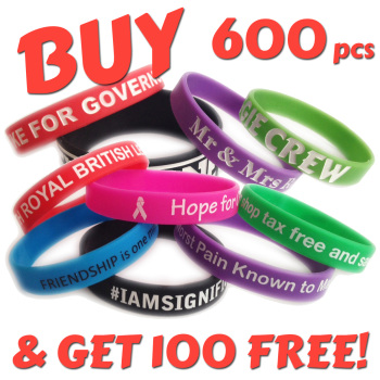 12mm Wristbands x 600pcs + 100 Free!
