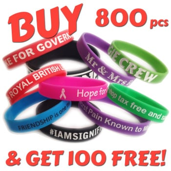 12mm Wristbands x 800 pcs + 100 Free!