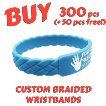 Braided Silicone Wristbands x 300 pcs (EXCLUSIVE DESIGN!)