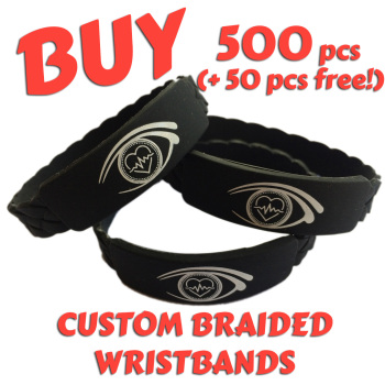 Braided Silicone Wristbands x 500 pcs (EXCLUSIVE DESIGN!)
