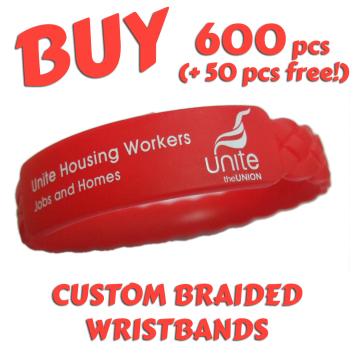 Braided Silicone Wristbands x 600 pcs (EXCLUSIVE DESIGN!)