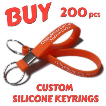 Custom Printed Silicone Keyring x 200 pcs