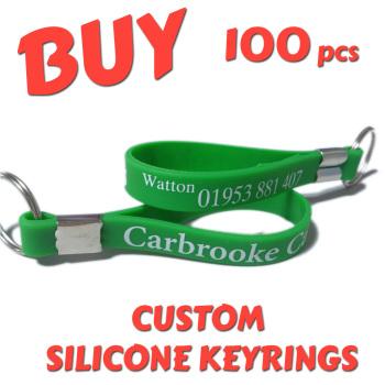 Custom Printed Silicone Keyring x 100 pcs