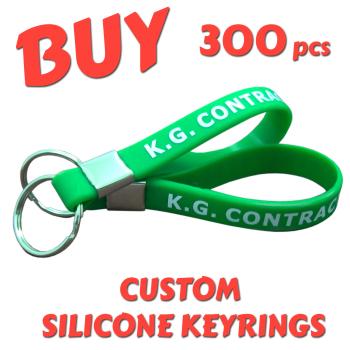 Custom Printed Silicone Keyring x 300 pcs