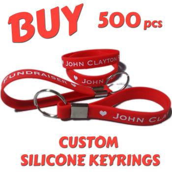 Custom Printed Silicone Keyring x 500 pcs