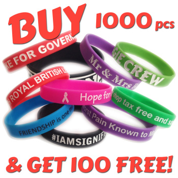 12mm Wristbands x 1000 pcs + 100 Free!