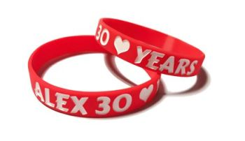 * Alex 30 Years 2 Custom Printed Silicone Wristands by www.promo-bands.co.u