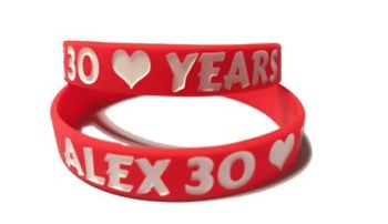 * Alex 30 Years Custom Printed Silicone Wristands by www.promo-bands.co.uk