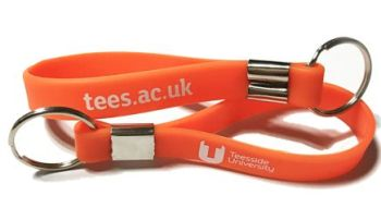Teesside University Custom Printed Silicone Keyrings by Promo-Bands.co.uk