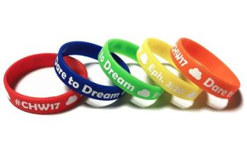 CHW17 Custom Printed Junior Wristbands by Promo-Bands.co.uk