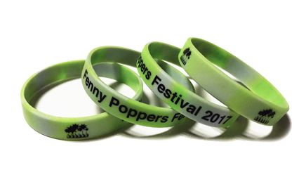 Fenny Poppers Festival 2017 Custom Printed Swirled Silicone Wristbands by P