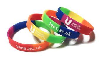 Teesside University LGBT Rainbow Wristbands by Promo-Bands.co.uk