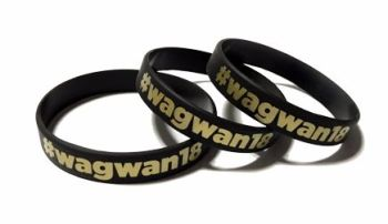 Wagwan18 - Custom Printed Silicone Gold Ink Wristbands by Promo-Bands.co.uk