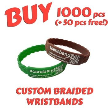 Braided Silicone Wristbands x 1000 pcs (EXCLUSIVE DESIGN!)