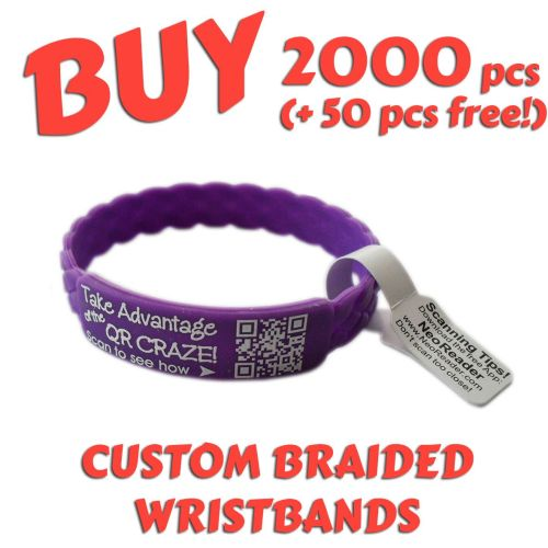 Braided Silicone Wristbands x 2000 pcs (EXCLUSIVE DESIGN!)