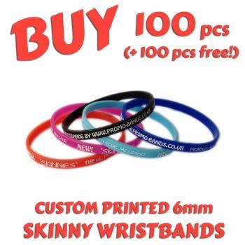 L1) Custom Printed 6mm Wristbands x 100 pcs + 100 free!