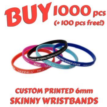 L9a) Custom Printed 6mm Wristbands x 1000 pcs + 100 free!