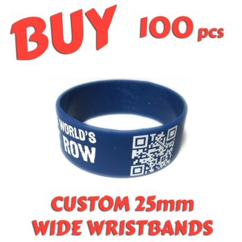 M1) Custom Printed 25mm Wristbands x 100 pcs