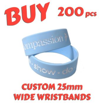 M2) Custom Printed 25mm Wristbands x 200 pcs