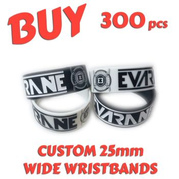 M3) Custom Printed 25mm Wristbands x 300 pcs