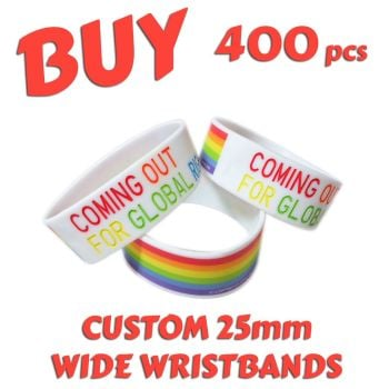 M4) Custom Printed 25mm Wristbands x 400 pcs