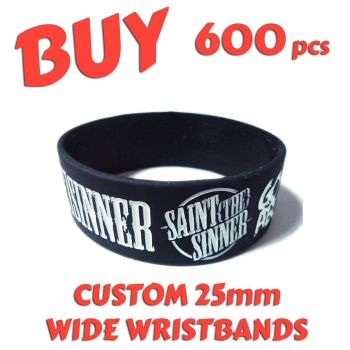 M6) Custom Printed 25mm Wristbands x 600 pcs