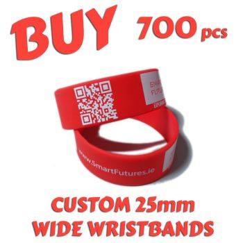 M7) Custom Printed 25mm Wristbands x 700 pcs