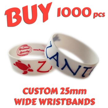 M9a) Custom Printed 25mm Wristbands x 1000 pcs